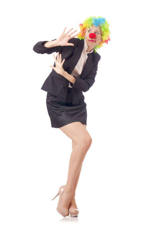 Woman clown in business suit Stock Photo - 18653202