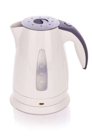 White electric kettle isolated Stock Photo - 18231934