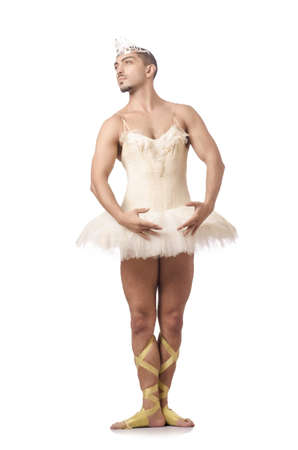 Man in ballet tutu isolated on white photo