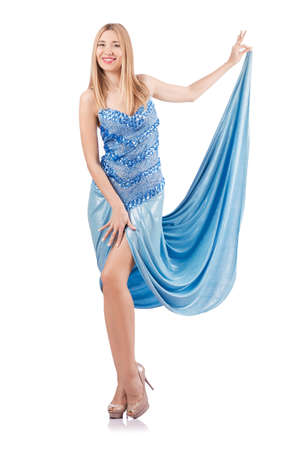 Attractive woman in blue dress on white Stock Photo - 18636569