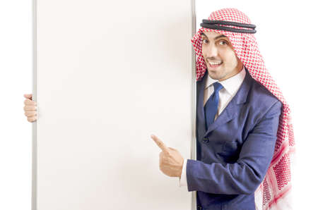 Arab man with blank board for message Stock Photo - 18659859