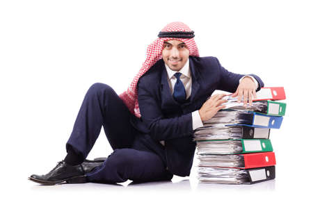 busy beard: Arab businessman with many folders on white Stock Photo