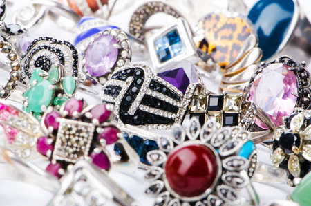 Collection of jewellery rings on white photo