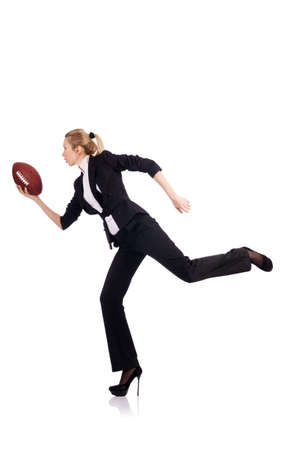 Woman businesswoman with american football photo