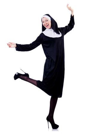 Nun isolated on the white background Stock Photo - 18654822