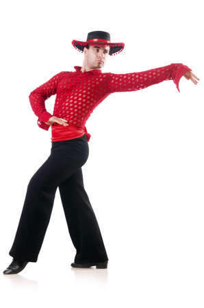 Man dancing spanish dances on white photo