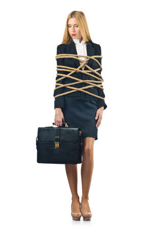 tied woman: Tied woman in business concept