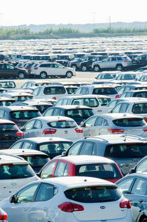 TUSCANY, ITALY - 27 June: New cars parked at distribution center in Tuscany, Italy. This one of biggest distribution centers in Italy. Stock Photo - 18306007
