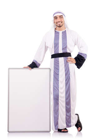 Arab man with blank board for message Stock Photo - 18662992