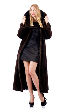 Tall model wearing fur coat photo
