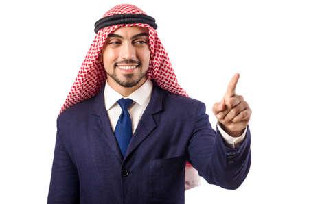 homme arabe: Homme arabe appuyant sur les boutons virtuels