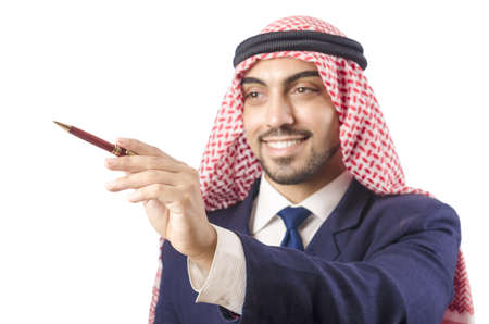 Arab man pressing virtual buttons Stock Photo - 18663007