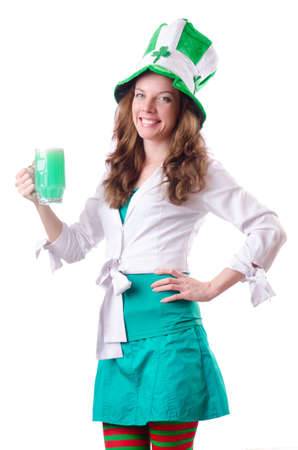 Young girl in saint patrick celebration concept Stock Photo - 18663004