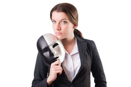 Woman with mask in hypocrisy concept Stock Photo - 18663016