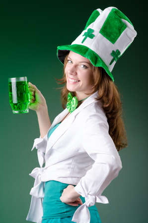 Young girl in saint patrick celebration concept Stock Photo - 18663040