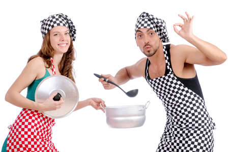 Pair of funny cooks on white photo