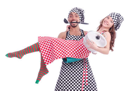 Pair of funny cooks on white Stock Photo - 18654795