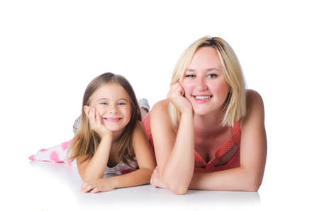 Happy mother and daughter isolated on white photo