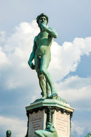 David statue at Michelangelo square in Florence Italy photo
