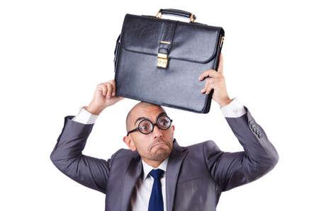 Funny nerd businessman on the white Stock Photo - 18648903