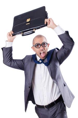 Funny nerd businessman on the white Stock Photo - 18663757