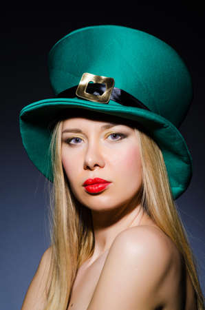 irish woman: Young girl in saint patrick celebration concept