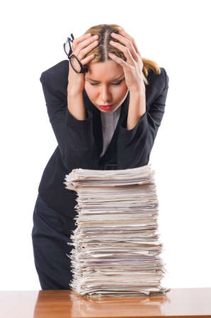 Woman with pile of papers Stock Photo