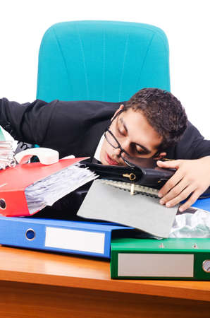 Young busy businessman at his desk Stock Photo - 18655590
