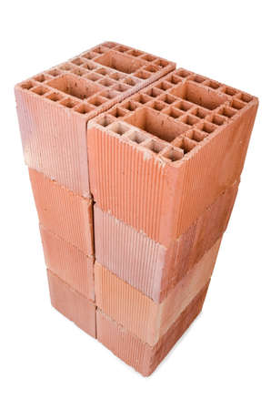 Stack of clay bricks isolated on white Stock Photo - 18311914