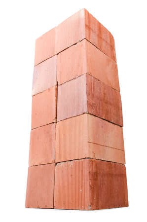 Stack of clay bricks isolated on white Stock Photo - 18312040