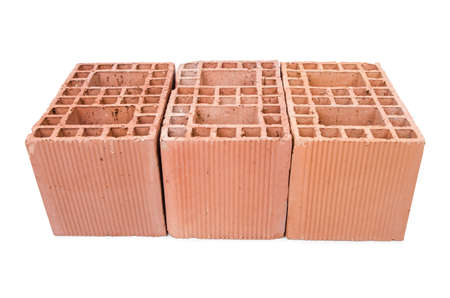 Stack of clay bricks isolated on white Stock Photo - 18312039