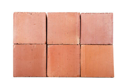 Stack of clay bricks isolated on white Stock Photo - 18312043