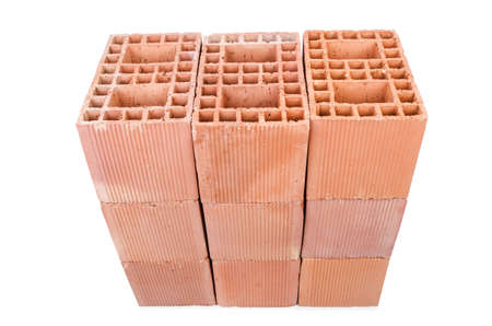 Stack of clay bricks isolated on white Stock Photo - 18312041