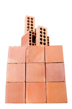 Stack of clay bricks isolated on white Stock Photo - 18312038