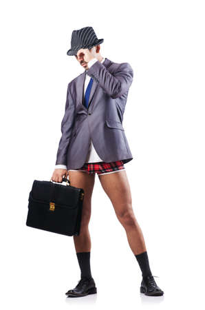 pantalones abajo: no pantalones hombre de negocios aislados en blanco