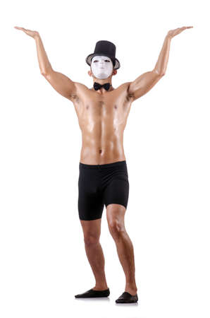 muscular mime isolated on white Stock Photo - 18311987