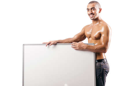shirtless man with blank board Stock Photo - 18663468