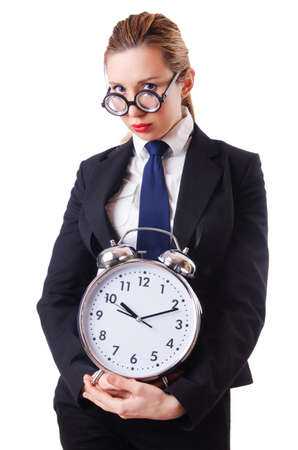 Nerd businesswoman with gian alarm clock Stock Photo - 18663679