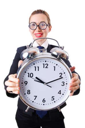 Nerd businesswoman with gian alarm clock Stock Photo - 18663584