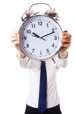 Nerd businesswoman with gian alarm clock Stock Photo - 18341282