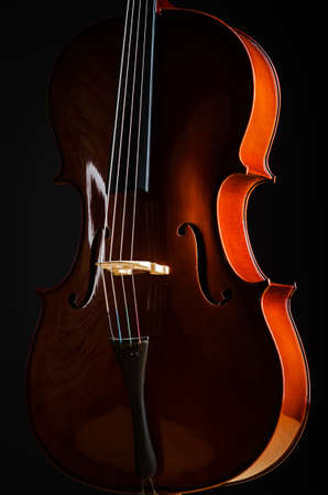 celllos: Violin in dark room  - music concept