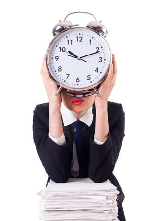 Woman businesswoman with giant alarm clock Stock Photo - 18663553