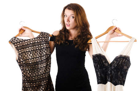 Young woman trying new clothing on white Stock Photo - 18663803