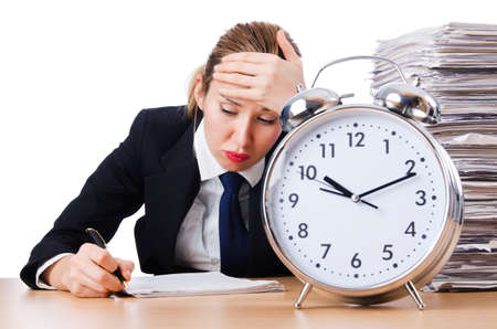 Woman businesswoman with giant alarm clock Stock Photo - 18663723