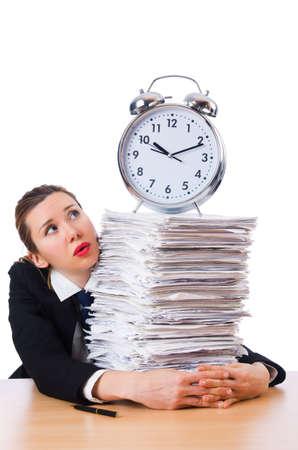 Woman businesswoman with giant alarm clock Stock Photo - 18648974