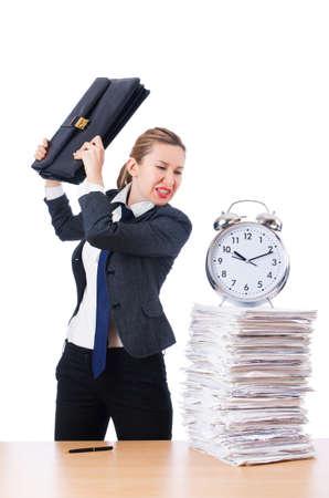 Woman businesswoman with giant alarm clock Stock Photo - 18663663