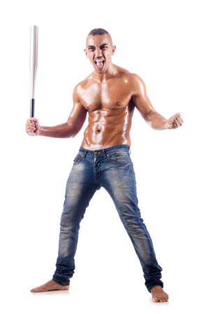 Muscular man with baseball bat on white Stock Photo - 18663505