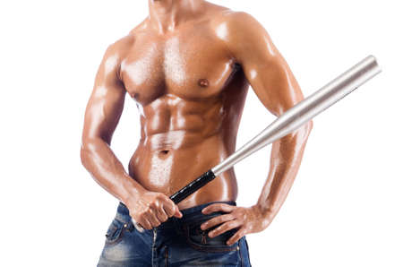 Muscular man with baseball bat on white Stock Photo - 18312538