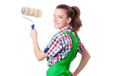 Woman painter with paintbrush on white photo