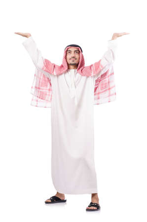 Arab businessman pushing isolated on the white Stock Photo - 18654829